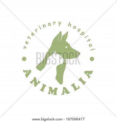 Logo template for veterinary clinic with cat and dog. Vector illustration.