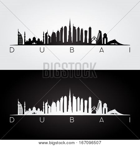 Dubai UAE skyline and landmarks silhouette black and white design vector illustration.