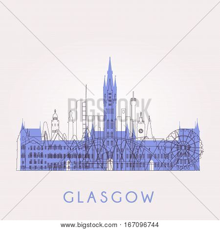 Outline Glasgow skyline with landmarks. Vector illustration. Business travel and tourism concept with historic buildings. Image for presentation banner placard and web site.