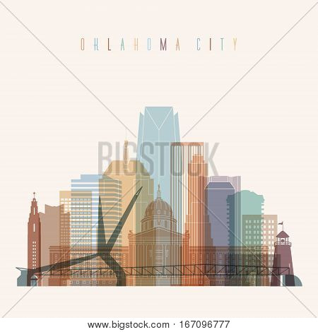 Transparent style Oklahoma City state Oklahoma skyline detailed silhouette. Trendy vector illustration