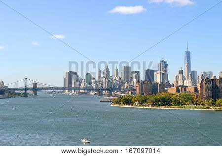 Manhattan Bridge and Brooklyn Bridge at sunny day.