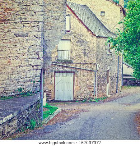Deserted Street of the French City in Lemousin Instagram Effect