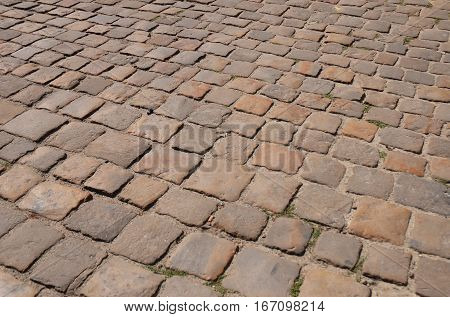 Stone pavement textured background. Old town pavement