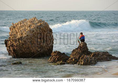 Mediterranean coast in southern Israel near the city of Ashkelon