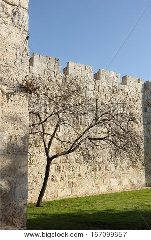 Ancient walls of the old city in Jerusalem