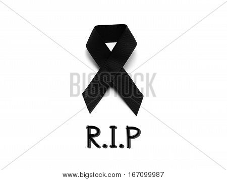 Black ribbon for mourning with R.I.P text on white background