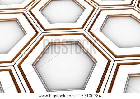 White Hexagons With Orange Glowing Sides