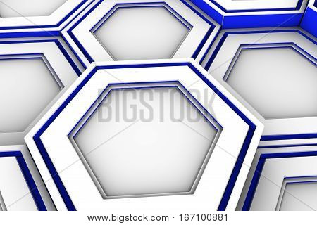 White Hexagons With Blue Glowing Sides