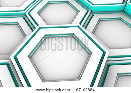 White Hexagons With Cyan Glowing Sides