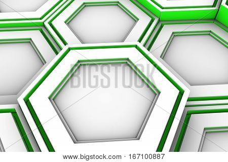 White Hexagons With Green Glowing Sides