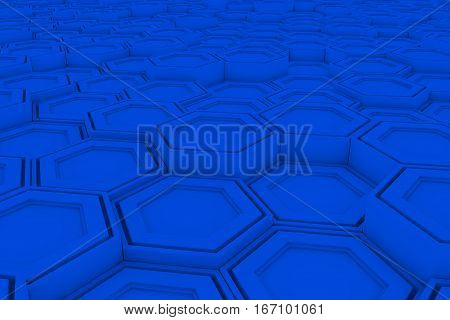 Wall Of Blue Hexagons