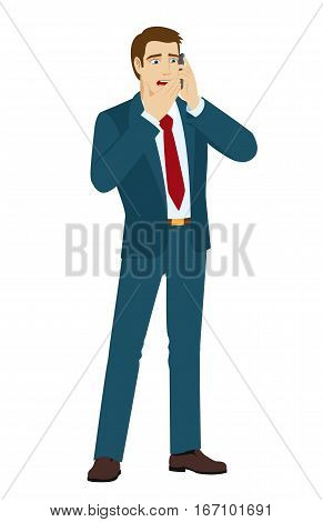 Shocking message. Shocked businessman talking on mobile phone. Vector illustration.