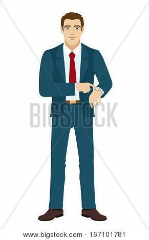 Businessman pointing at his watch. Vector illustration.