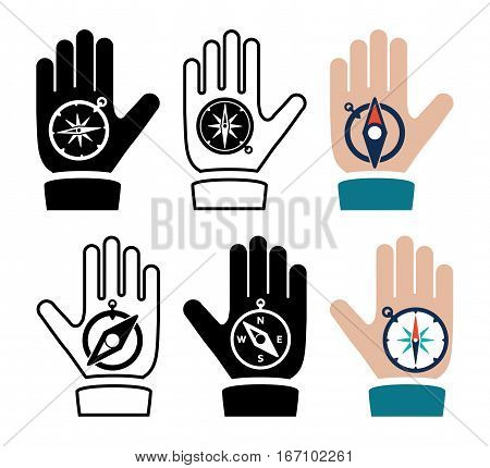 vector collection of compass in hand flat icons