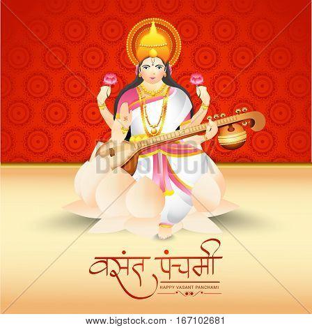 Creative illustration of Goddess Saraswati for Happy Vasant Panchami Celebration Background.