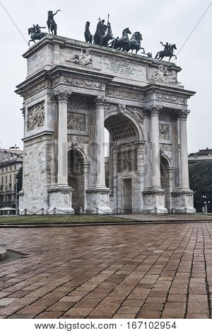 Milan (Lombardy Italy): the monumental arch known as Arco della Pace