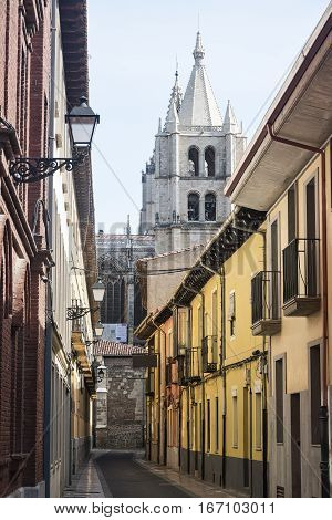 Leon (Castilla y Leon Spain): historic street with the cathedral in background