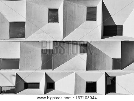 LEON, SPAIN - JULY 26, 2016: Leon (Castilla y Leon Spain): exterior of the modern Auditorium in the Park Explanada de la Junta. Black and white