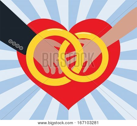 vector marriage illustration of man and woman in love with golden rings and red heart
