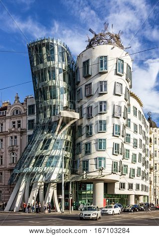 Prague, Czech Republic - Aug 4, 2016: Famous Dancing House Fred and Ginger House.