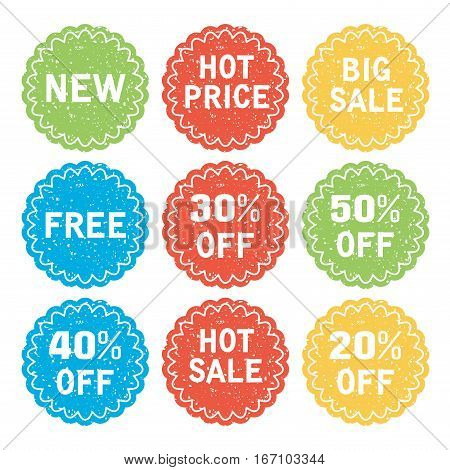 vector set of discount and sale labels