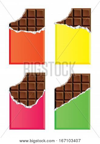vector collection of opened dark chocolate bars with a bite