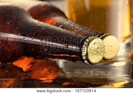 Cold beer. Fresh beer concept. Detail. Beer bottle concept.