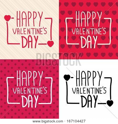 vector collection of happy valentines day cards with hand drawn typography hearts polka dot striped and white backgrounds. stylish typographic card design