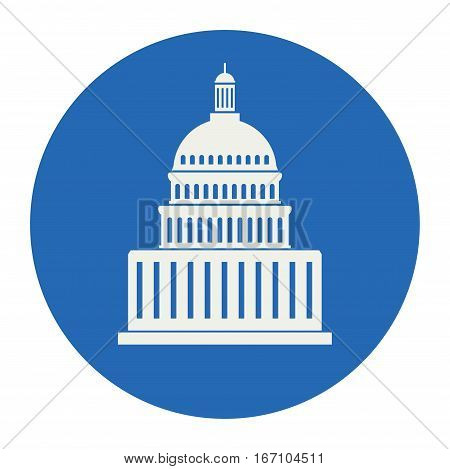 vector icon of united states capitol hill building washington dc american congress white symbol design on round blue background