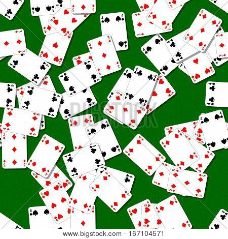 seamless background with playing cards randomly scattered on a green table