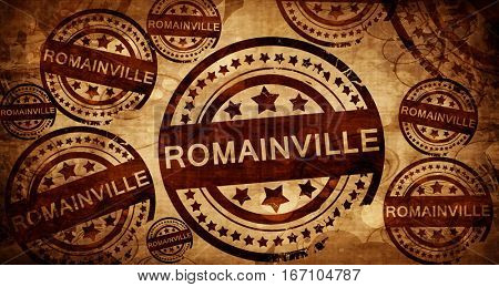 romainville, vintage stamp on paper background