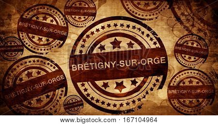 bretigny-sur-orge, vintage stamp on paper background