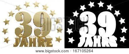 Golden digit thirty nine and the word of the year decorated with stars. Translated from the German. 3D illustration