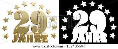 Golden digit twenty nine and the word of the year decorated with stars. Translated from the German. 3D illustration