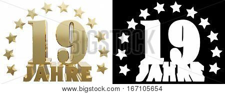Golden digit nineteen and the word of the year decorated with stars. Translated from the German. 3D illustration