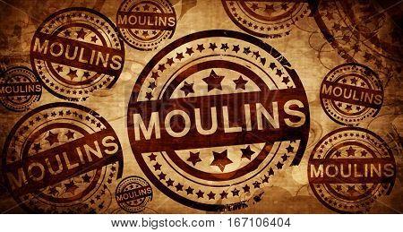 moulins, vintage stamp on paper background