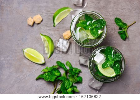 Mojito in a glass view from above