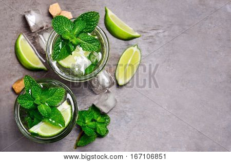 Mojito in a glass top view space for a text