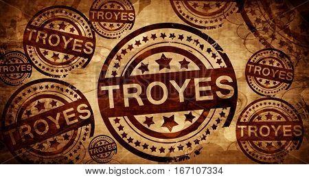 troyes, vintage stamp on paper background