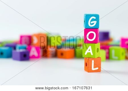 Goal Word Spelled With Wooden Block