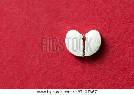 Heart Shaped Pill Cracked In Half