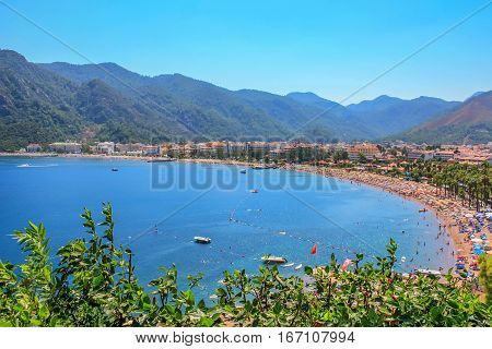Scenic view on bay of Icmeler suburb of Marmaris resort town in Turkey