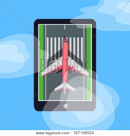 Aircraft on runway in smartphone. Making order on tickets via internet. E-commerce concept. Marking road, clouds, grass, takeoff, landing plane. Vector illustration. For aviation advertisement banner