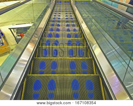 escalators stairway in the shopping mall. abstract background.