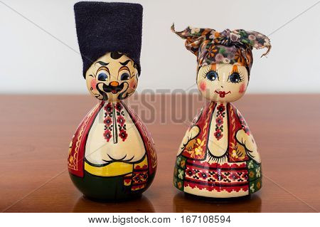 Husband and wife matryoshka. Russian folk nesting dolls