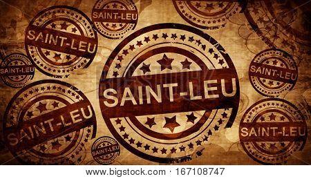 saint-leu, vintage stamp on paper background