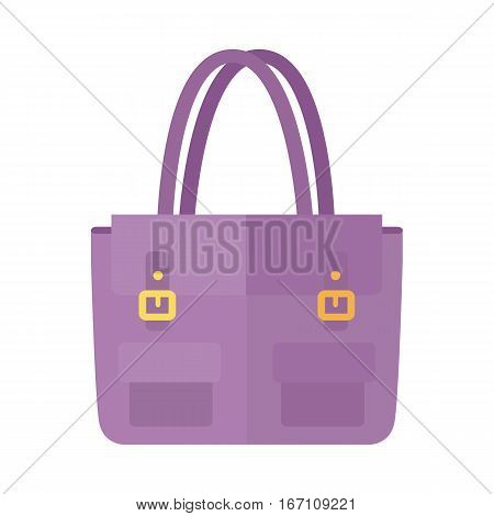 Ladies handbag in flat style. Female handbag isolated on white background. Elegant ladies two colored bag. Elegant ladies leather bag. Flat female accessories object. Clutch bag. Vector illustration