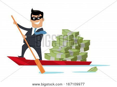 Escape with money concept vector. Flat design. Success. Financial crime, tax evasion, money laundering, political corruption illustration. Smiling man in mask robber sailing away on boat with money.