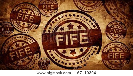 Fife, vintage stamp on paper background