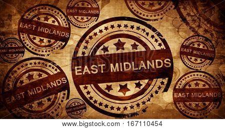 East midlands, vintage stamp on paper background